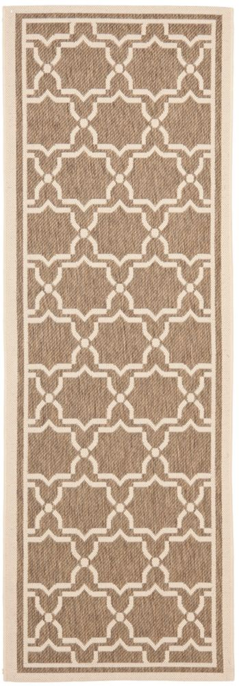Safavieh Courtyard Jaron Brown / Bone 2 ft. 4 inch x 12 ft. Indoor/Outdoor Runner