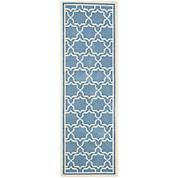 Safavieh Courtyard Jaron Blue / Beige 2 ft. 3 inch x 8 ft. Indoor/Outdoor Runner
