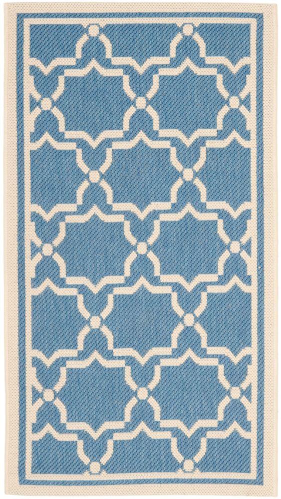 Safavieh Courtyard Blue 2 ft. 7-inch x 5 ft. Indoor/Outdoor Rectangular Area Rug - CY6916-243-3