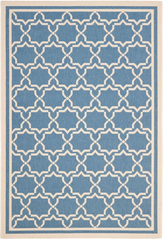 Safavieh Courtyard Jaron Blue / Beige 4 ft. x 5 ft. 7 inch Indoor/Outdoor Area Rug