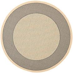Courtyard Nino Grey / Cream 5 ft. 3 inch x 5 ft. 3 inch Indoor/Outdoor Round Area Rug