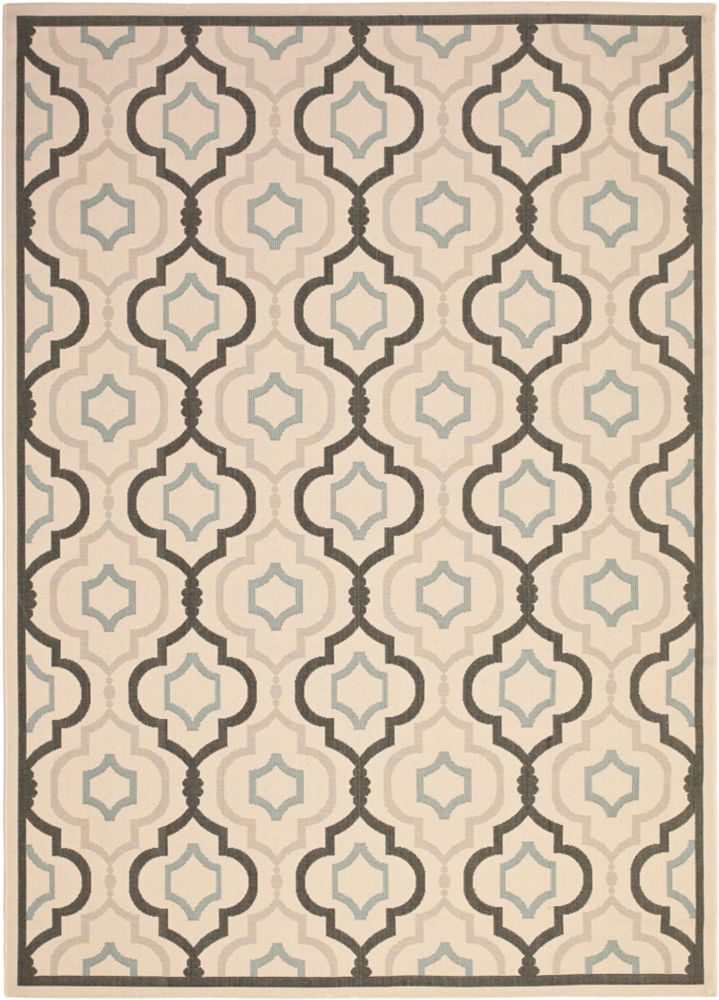 Safavieh Courtyard Li Black / Beige 5 ft. 3 inch x 7 ft. 7 inch Indoor/Outdoor Area Rug