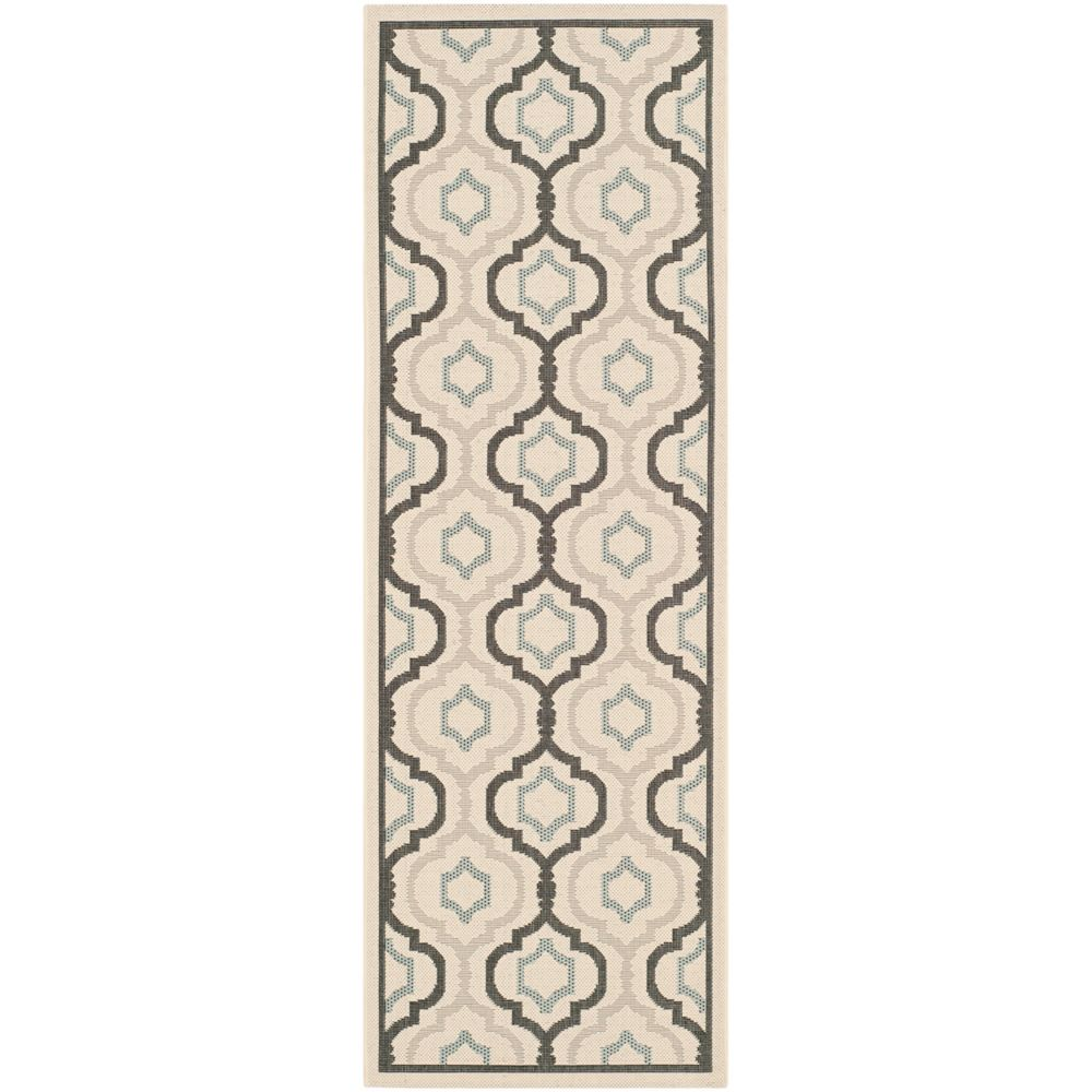 Safavieh Courtyard Li Beige / Black 2 ft. 3 inch x 8 ft. Indoor/Outdoor Runner