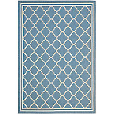 Courtyard Blue 5 ft. 3-inch x 7 ft. 7-inch Indoor/Outdoor Rectangular Area Rug - CY6918-243-5