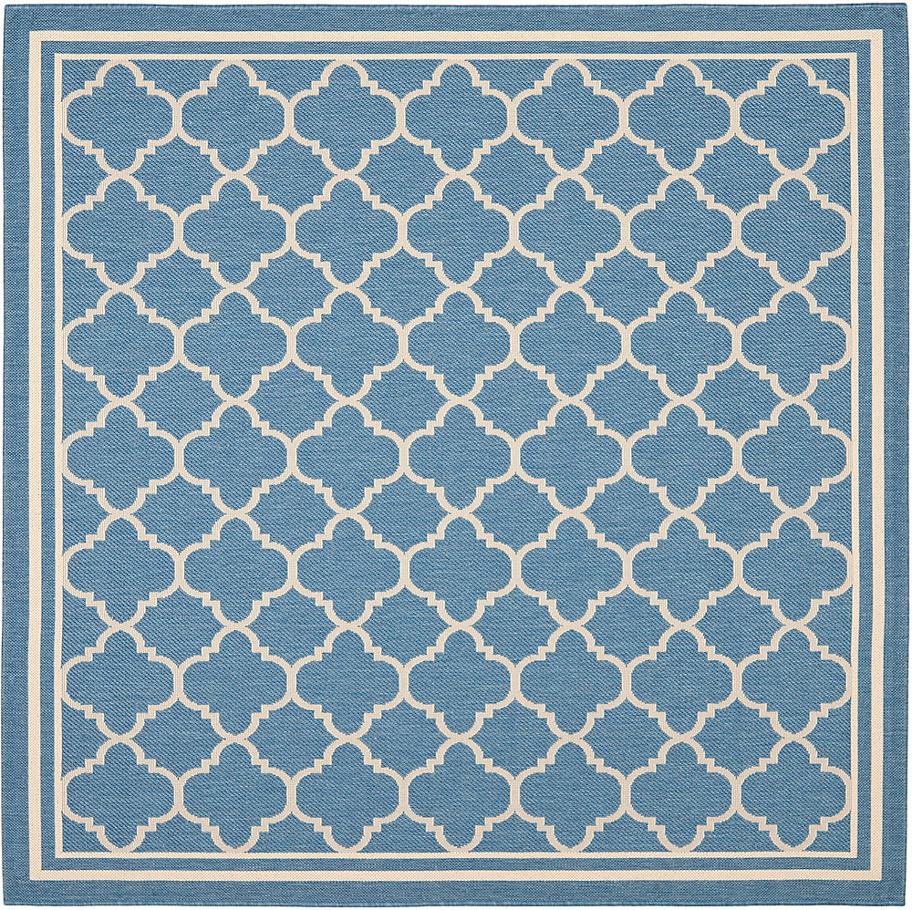 Courtyard Sherry Blue / Beige 6 ft. 7 inch x 6 ft. 7 inch Indoor/Outdoor Square Area Rug