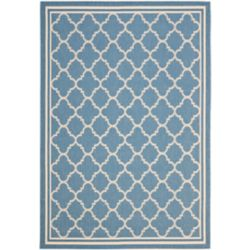 Safavieh Tapis de passage d'intérieur/extérieur, 8 pi x 11 pi, style transitionnel, rectangulaire, bleu Courtyard