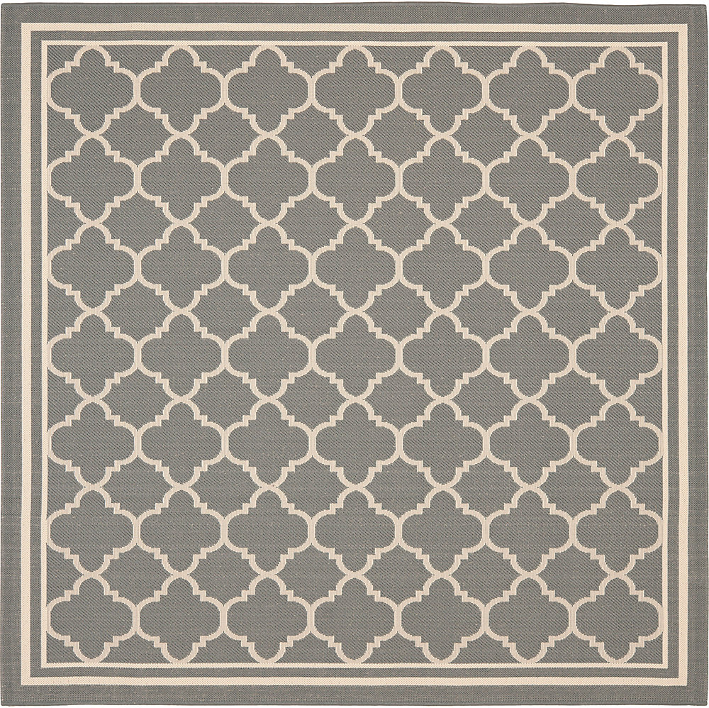 Courtyard Sherry Anthracite / Beige 4 ft. x 4 ft. Indoor/Outdoor Square Area Rug
