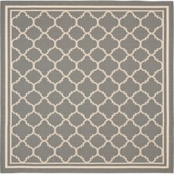 Safavieh Courtyard Sherry Anthracite / Beige 4 ft. x 4 ft. Indoor/Outdoor Square Area Rug