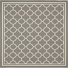 Courtyard Sherry Anthracite / Beige 5 ft. 3 inch x 5 ft. 3 inch Indoor/Outdoor Square Area Rug