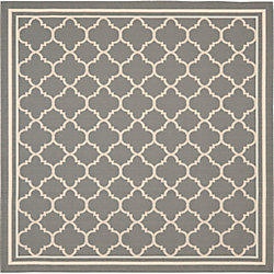 Safavieh Courtyard Sherry Anthracite / Beige 6 ft. 7 inch x 6 ft. 7 inch Indoor/Outdoor Square Area Rug