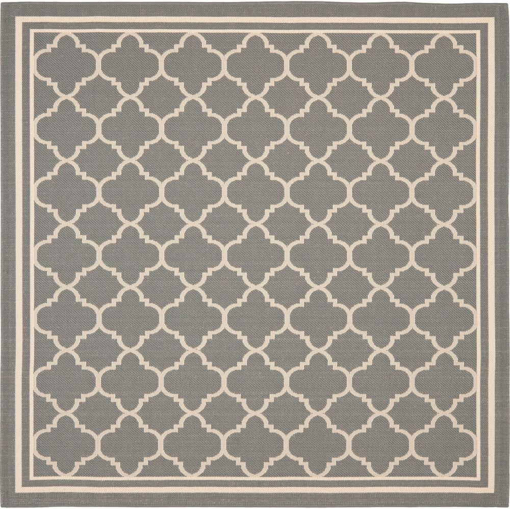 Courtyard Sherry Anthracite / Beige 6 ft. 7 inch x 6 ft. 7 inch Indoor/Outdoor Square Area Rug