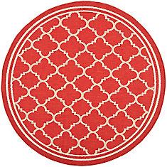 Courtyard Sherry Red / Bone 4 ft. x 4 ft. Indoor/Outdoor Round Area Rug