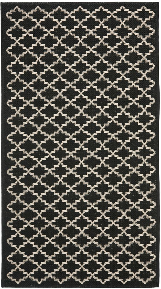 Safavieh Courtyard Jay Black / Beige 2 ft. x 3 ft. 7 inch Indoor/Outdoor Area Rug