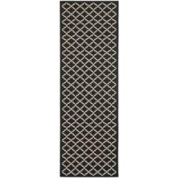 Safavieh Tapis de passage d'intérieur/extérieur, 2 pi 4 po x 14 pi, style transitionnel, noir Courtyard