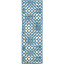 Safavieh Courtyard Jay Blue / Beige 2 ft. 3 inch x 8 ft. Indoor/Outdoor Runner