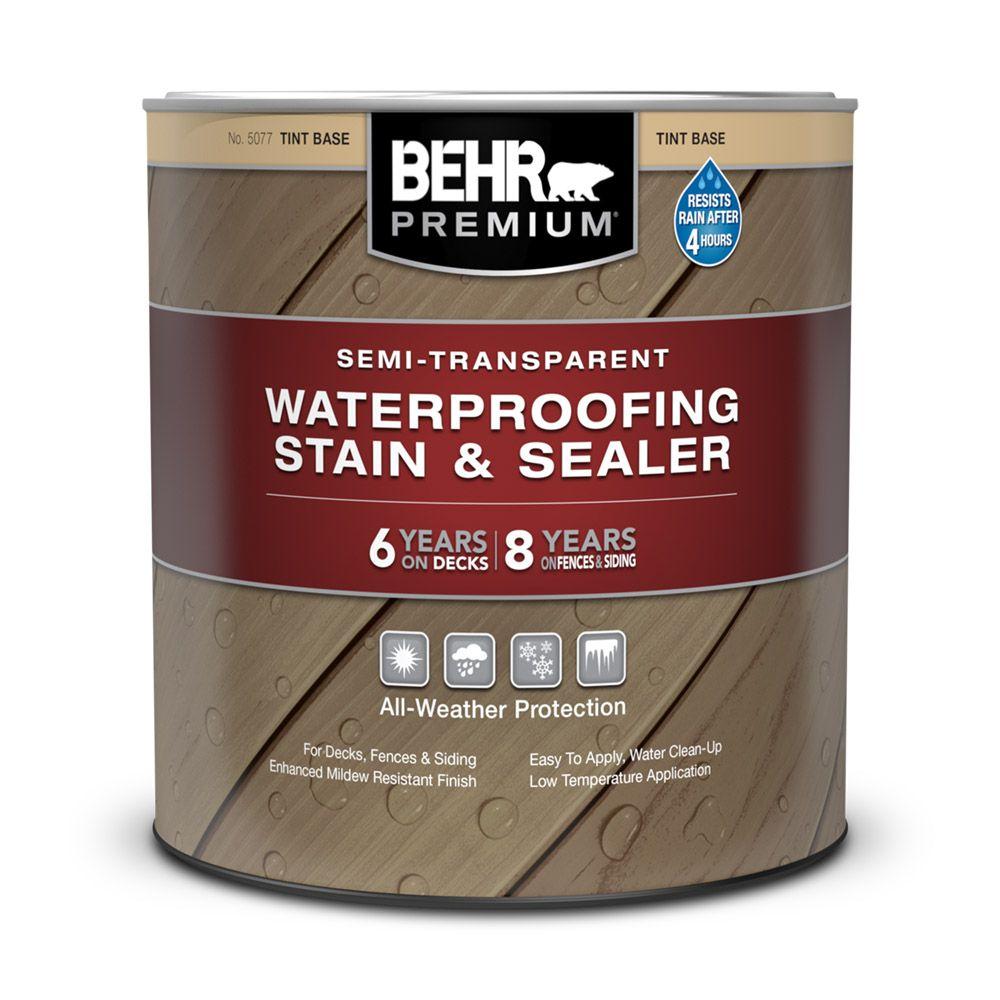 Behr Premium Semi-Transparent Weatherproofing Wood Stain - Tint Base, 946 mL