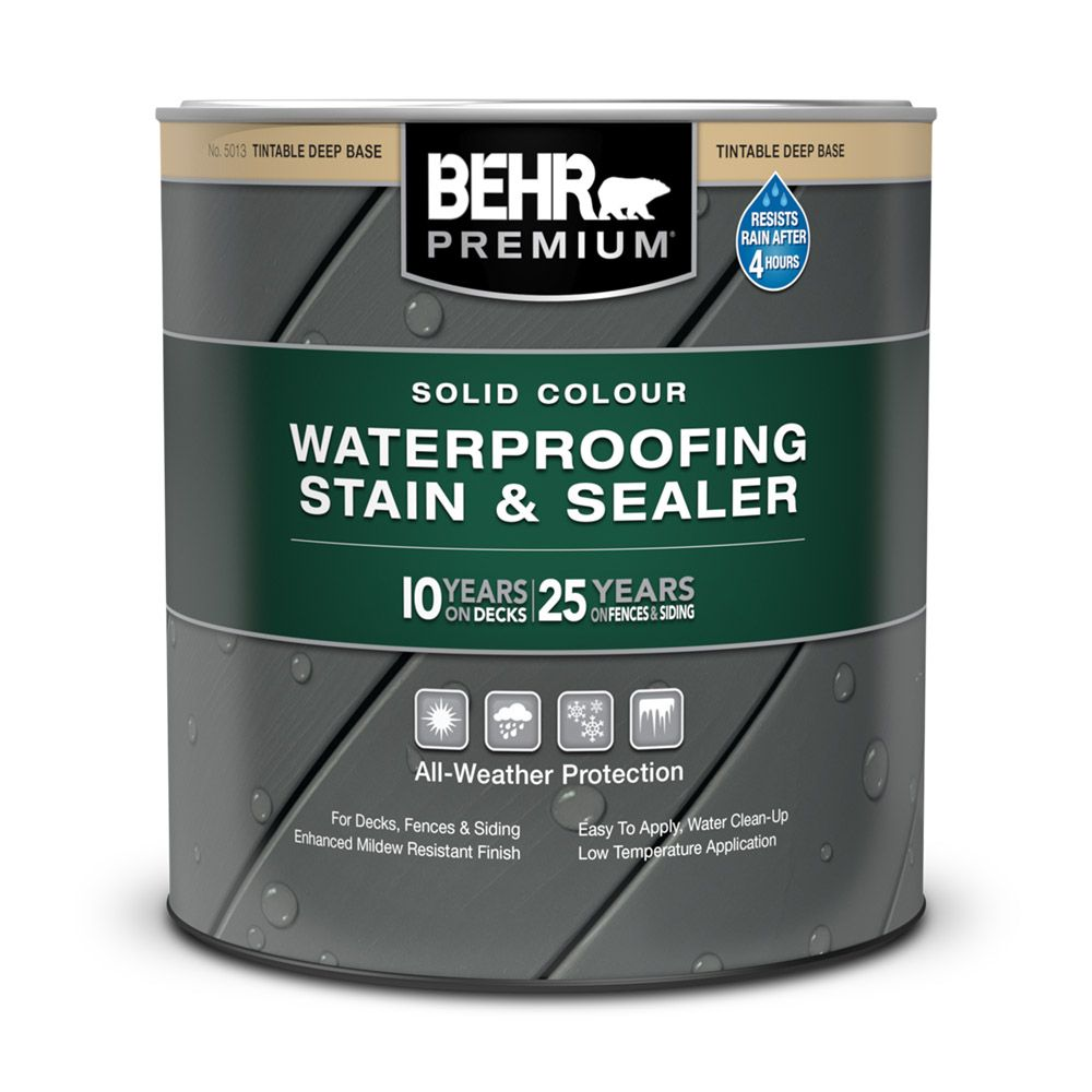 Exterior wood stains and finishes the home depot canada solid colour weatherproofing wood stain deep base 946 ml geenschuldenfo Gallery