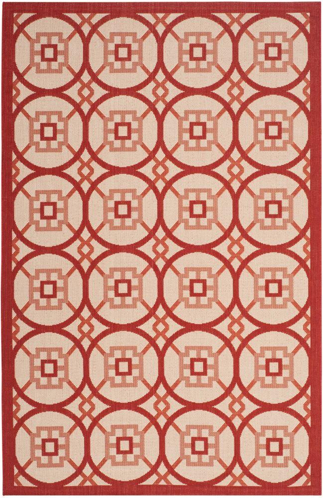 Safavieh Courtyard Nina Beige / Red 5 ft. 3 inch x 7 ft. 7 inch Indoor/Outdoor Area Rug