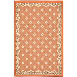 Safavieh Courtyard Darion Terracotta / Cream 6 ft. 7 inch x 9 ft. 6 inch Indoor/Outdoor Area Rug