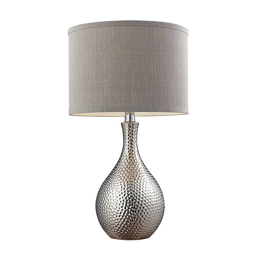 Hammered Chrome Plated Table Lamp With Grey Faux Silk Shade