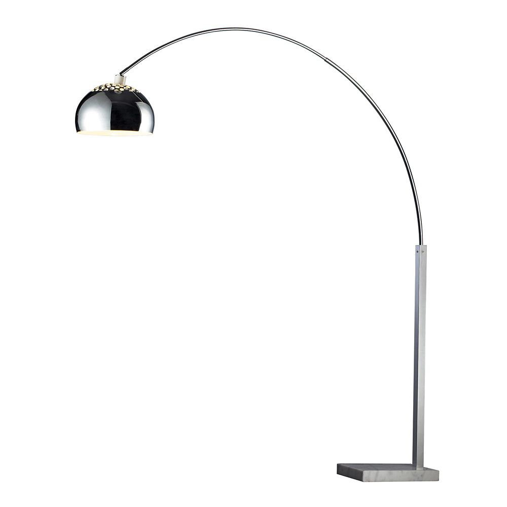 Titan Lighting Penbrook Arc Floor Lamp In Chrome With White Marble