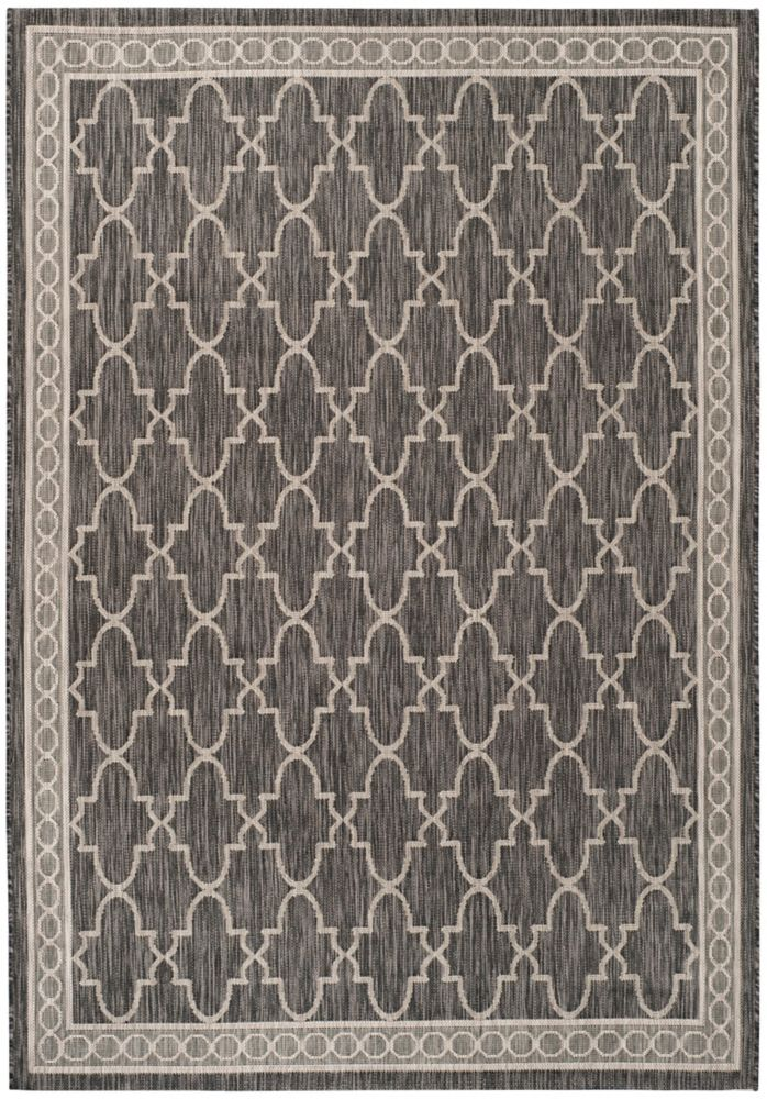 Courtyard Nita Black / Beige 5 ft. 3 inch x 7 ft. 7 inch Indoor/Outdoor Area Rug