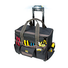 18-inch x 11.5-inch x 17-inch Rolling Tool Bag with 17 Pockets & Work Light