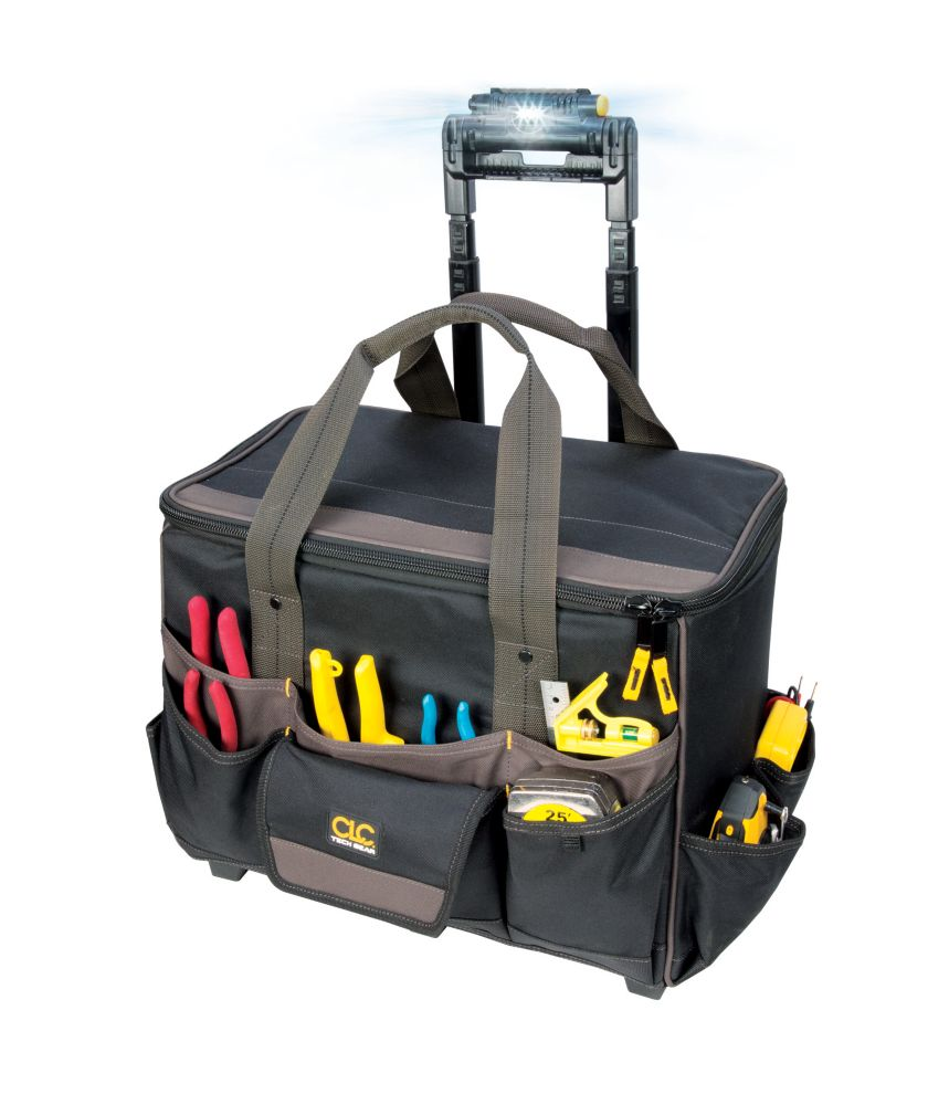Kuny's 18-inch x 11.5-inch x 17-inch Rolling Tool Bag with 17 Pockets & Work Light