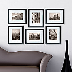 Gallery Pack of 6- 8x10 Inch  Matted To 5x7 Inch  Frame - Black