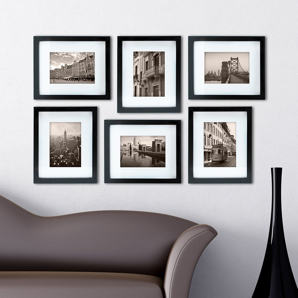 Kiera Grace Gallery Pack of 6- 8x10 Inch  Matted To 5x7 Inch  Frame - Black