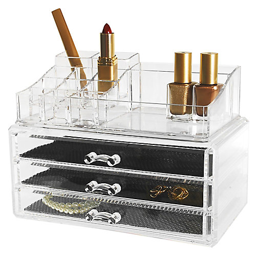 Set de 2- Organiseur pour cosmétiques et bijoux, 14 compartiments et 3 tiroirs