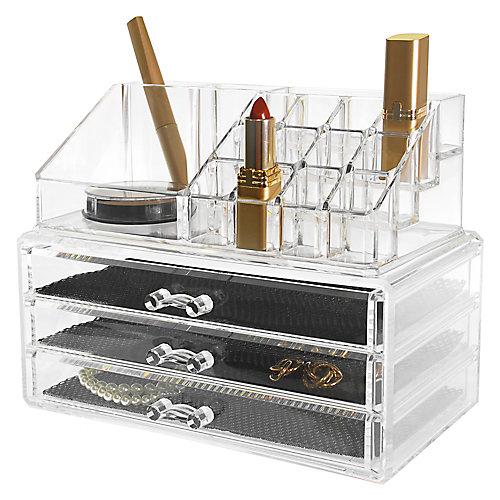 Set de 2- Organiseur pour cosmétiques et bijoux, 16 compartiments et 3 tiroirs
