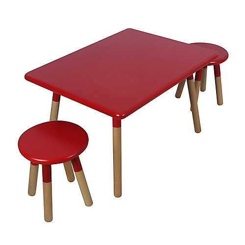 Kids' Dipped Table and Stool Set in Red
