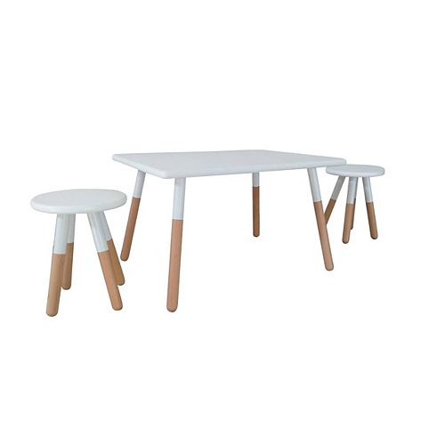 Kids Space Dipped Table and Stool Set in White