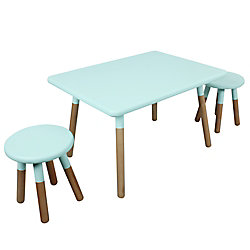 Kids Space Dipped Table and Stool Set in Mint