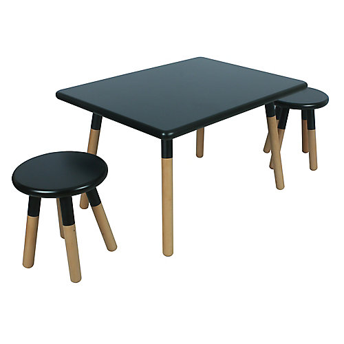Dipped Table and Stool Set in Black