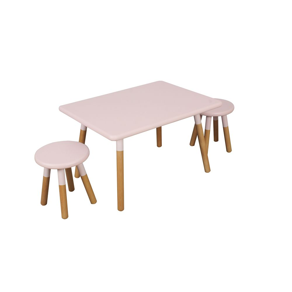 Kids Space Kids' Dipped Table and Stool Set in Pink
