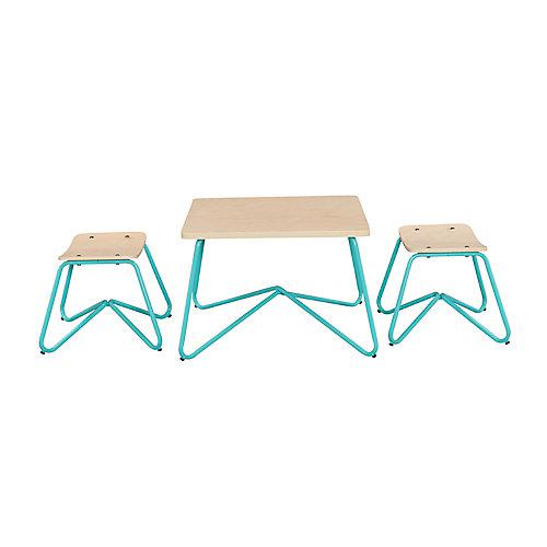 Kellan Mixed Material Kids' Table and Stool Set in Aqua