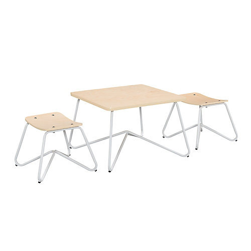 Kellan Mixed Material Kids' Table and Stool Set in White