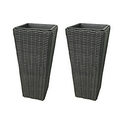 Grapevine Large Square Resin Planters in Matte Black (2-Pack)