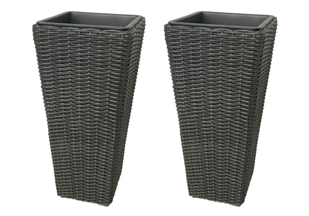 Grapevine Grapevine Large Square Resin Planters in Matte Black (2-Pack)