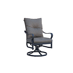 ONSIGHT Panacea High Back Swivel Rocker Patio Dining Chair with Cushion