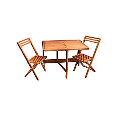 Mur moyen table et deux chaises de balcon de pliage Jeu de 3 pièces