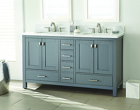 Home decorators collection franklin square 60 inch w 5 drawer 4 door vanity in grey with marble top in white double basins the home depot canada