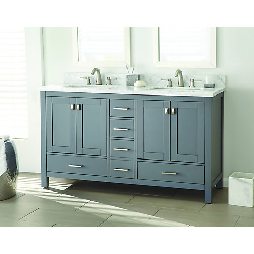 Franklin Square 60-inch W 5-Drawer 4-Door Vanity in Grey With Marble Top in White, Double Basins