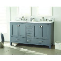 Home Decorators Collection Franklin Square 60-inch W 5-Drawer 4-Door Vanity in Grey With Marble Top in White, Double Basins