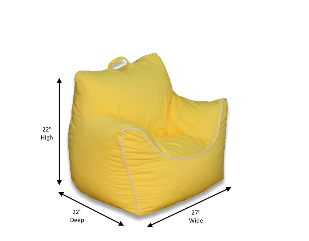 Ace Casual Furniture Yellow Bean Bag Chair with Removable Cover