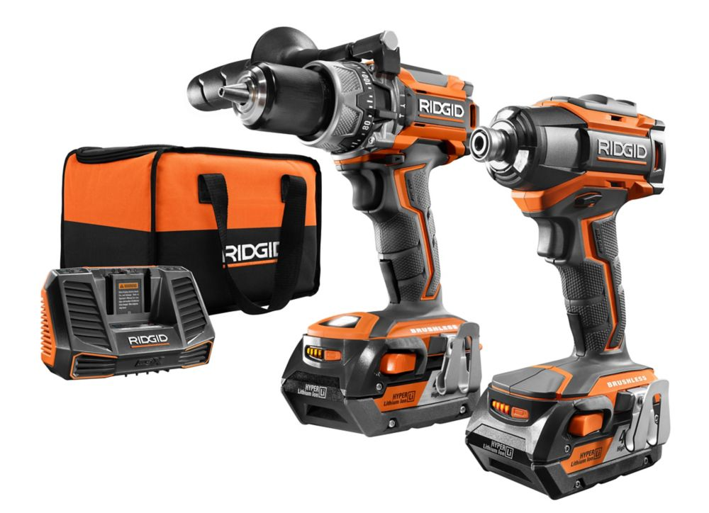 18-Volt Gen5X Lithium-Ion Cordless Brushless Hammer Drill & Impact Driver Kit w/ (2) 4.0Ah Batteries
