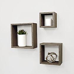 Kiera Grace Cubbi 3-Piece Wall Shelf 5x5-inch , 7x7-inch , 9x9-inch - Driftwood Grey