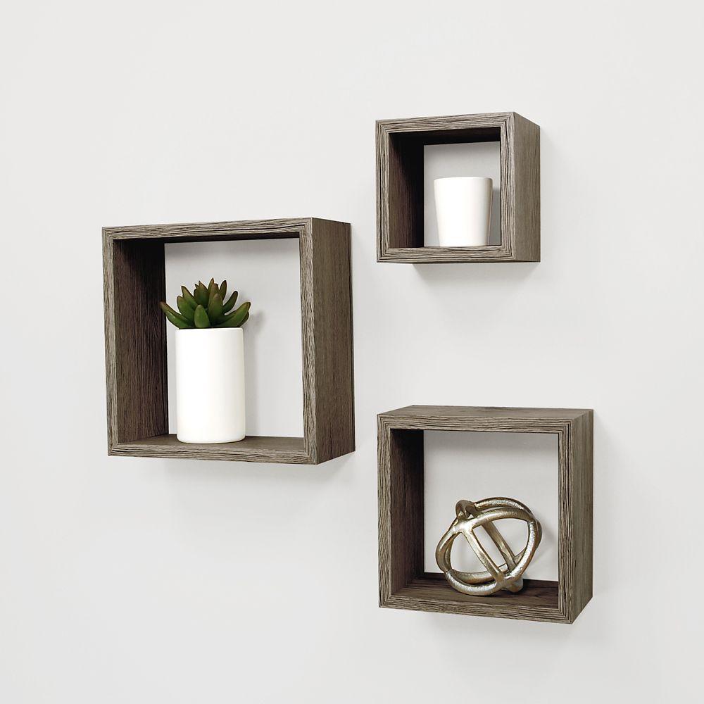 Kiera Grace Cubbi 3 Pc Wall Shelf 5x5-inch , 7x7-inch , 9x9-inch - Driftwood Grey